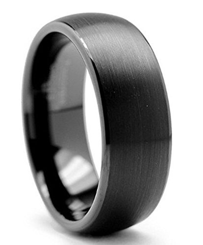 King Will TYRE 8mm Black Brushed Matte Finish Tungsten Carbide Ring Domed Engagement Wedding Band Comfort Fit