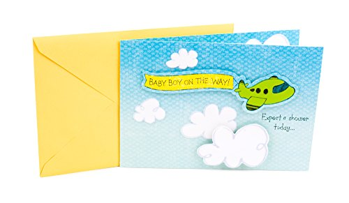 Hallmark Baby Shower Greeting Card for Baby Boy (Airplane with Banner)