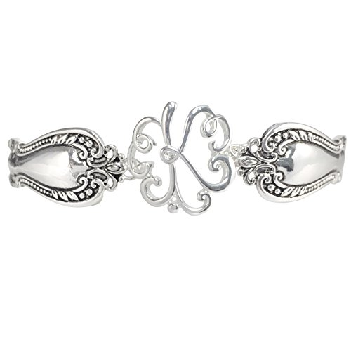 Gypsy Jewels Spoon Handle Style Monogram Initial Silver Tone Magnetic Clasp Bracelet (Letter K)