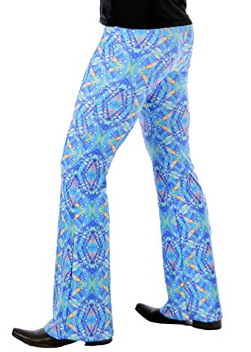 (Revolver Fashion Psychedelic Men's Flare Pants: USA Made Flared Bell Bottoms (Small, Blue Kaleidoscope) )