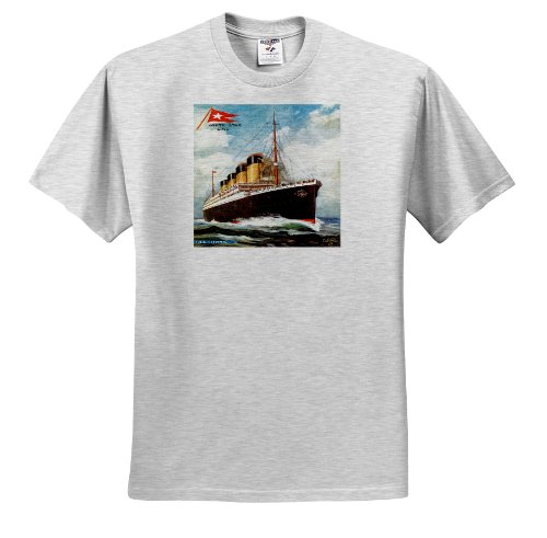 (BLN Vintage Ocean Liners Advertising Posters - Vintage White Star Line S.S. Titanic - T-Shirts - Youth Birch-Gray-T-Shirt Med(10-12) (ts_149236_29))