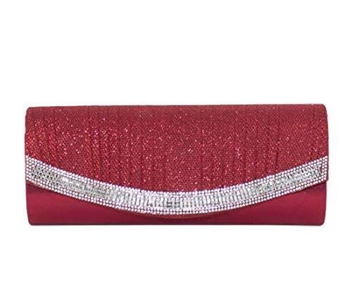 Rouge Diamant à Diva Sac Femme Rouge pour Haute Medium Plissé Main Brillant qXx4fPnwU