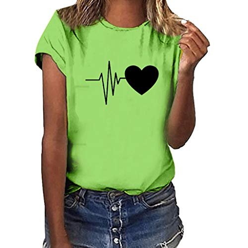 GHrcvdhw Women Plus Size Heart-Shaped Electrocardiogram Print Shirt Solid Multicolor Short Sleeve Girl T Shirt Tops