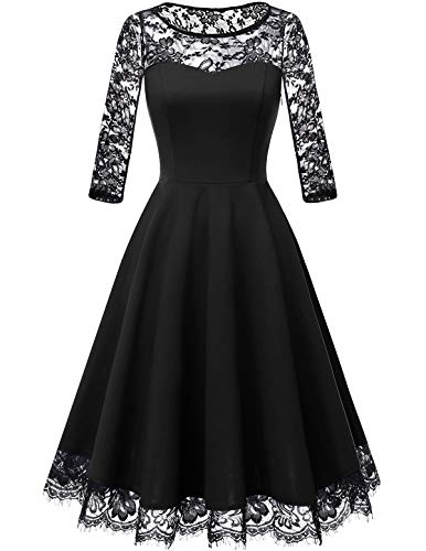 Homrain Women's Vintage 1950s Floral Lace Scoop Neck Cap Sleeve Cocktail Party Dress Black-1 2XL