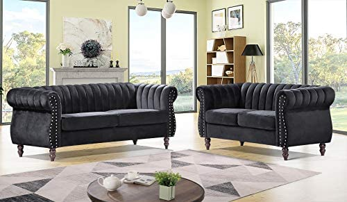 Container Furniture Direct Quinones Modern Chesterfield Channel Tufted Sofa Set with Nailhead Accents, 2 Piece, Black