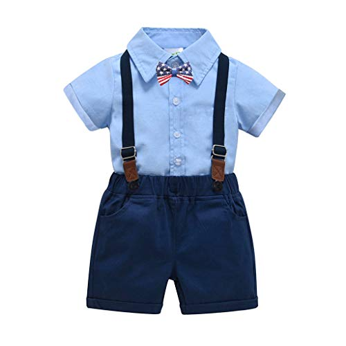 (RAINED-Baby Boys Gentleman Outfits Suits, Infant Short Sleeve Shirt+Bib Pants+Bow Tie Overalls Clothes Set 4th of July Light Blue)