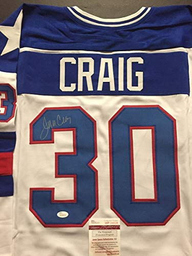 Autographed Team Jersey (Autographed/Signed Jim Craig White Team USA Miracle On Ice 1980 Olympics Hockey Jersey JSA COA)