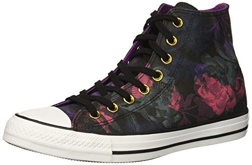Converse Women's Chuck Taylor All Star Floral Print High Top Sneaker, Black/Pink Pop/White, 8 M (Converse High Top Sneakers)