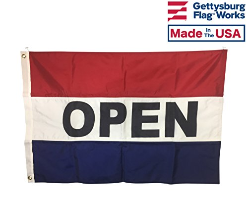 2x3' Double Sided Horizontal Display OPEN Flag, All Weather Nylon for Outdoor, Made In USA ()