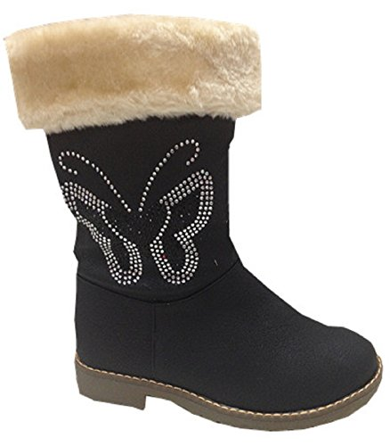 Filles chaussures bottes bottine zip fourrées CHAUD strasse papillon NOIR 705