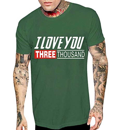 Men's I Love You Three Thousand Times Letter Printing T-Shirt Short Sve Loose Slim fit Tops Tees Blouse Green