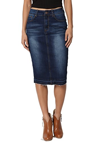 TheMogan Women's Butt Lift Washed Blue Jean Pencil Midi Soft Denim Skirt Dark M