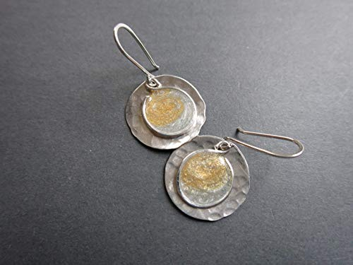 Handmade Lightweight Silver and Gold 2 Tone Resin Earrings Beads by Bettina