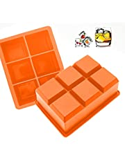Large Ice Cube Tray for Whiskey - Orange Silicone Ice Tray Mold for 6 Giant Ice Cubes