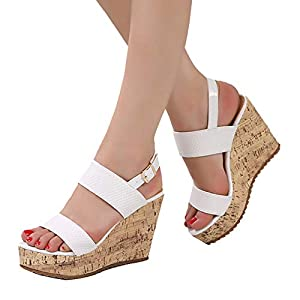 06e5bbe479 getmorebeauty Women's White Wedges High Heels Sandals Summer Shoes with  Straps Blcok Heels Platform Pumps 5 B(M) US