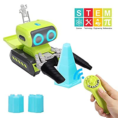 Tuptoel Construction Toys, Remote Control Engineering Robot Programmable Construction Vehicle, RC Robot Astronaut Educational Toys/Gifts for Kids, Interactive Stem Toys for 3+ Years Old
