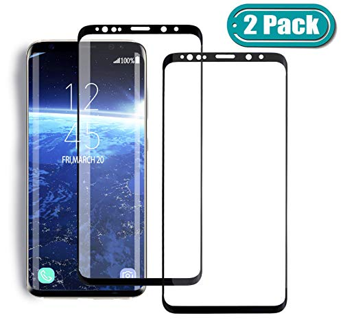 [2 Pack] MSLAN Samsung Galaxy S9 Plus Screen Protector,3D Curved Tempered [Anti-Bubble][9H Hardness][HD Clear][Anti-Scratch][Case Friendly] Glass Screen Film Compatible Samsung Galaxy S9 Plus Black