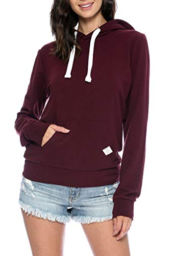 Maroon Pullover Hoodie - Urban Look Womens Basic Lightweight Stretch French Terry Pullover Hoodie (B Maroon, Small)
