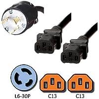 NEMA L6-30P to 2x C13 Y Splitter Cord - 10 Foot, 15A/250V, 14 AWG - Iron Box # IBX-7803C132