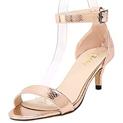 ZriEy Women Sexy Open Toe Ankle Straps Low Heel Sandals Crocodile Grain Copper Size 8.5/39 M EU