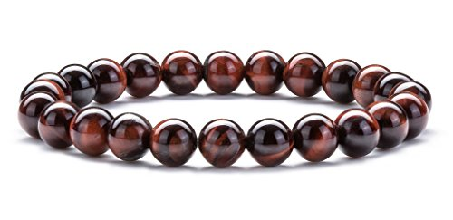- Hamoery Men Women 8mm Natural Stone Beads Bracelet Elastic Yoga Agate Bracelet Bangle(Red Tiger Eye)