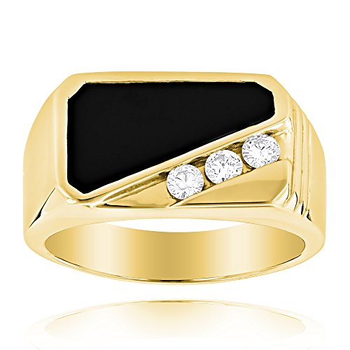 Luxurman 14K Men's Diamond Polished Onyx Ring For Him 0.3 Ctw (Yellow Gold Size 8) (Eternity 18k Diamond Ring Gold)