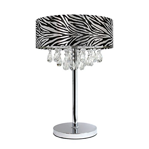 Elegant Designs LT1023-ZBA Romazzino Crystal and Chrome Table Lamp with Ruched Fabric Drum Shade, Zebra Print (For Lamps Bedrooms Zebra)