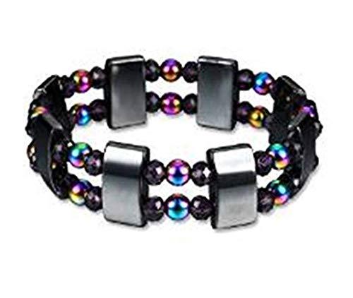Interwoven Link - LOSOUL Men's Cool Colorful Rainbow Rubber Interwoven Bracelet Link Chain Wrist