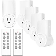 Etekcity Wireless Remote Control Electrical Outlet Switch for Household Appliances, Wireless Remote Light Switch, White (Learning Code, 5Rx-2Tx)