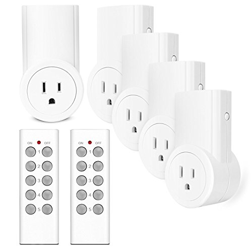 Amazon - Etekcity Wireless Remote Control Electrical Outlet Switch for Household Appliances, Wireless Remote Light Switch, White (Learning Code, 5Rx-2Tx)
