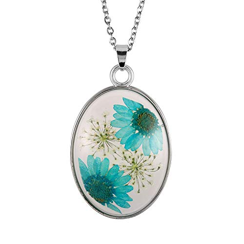(FM FM42 Turquoise Daisy Pressed Flowers Queen Anne's Lace Transparent Oval Pendant Necklace FN4226 )