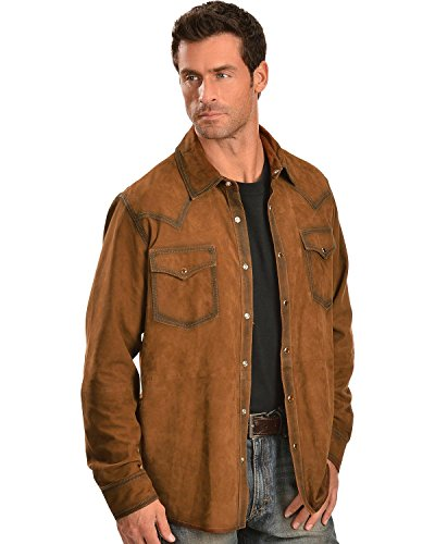 Scully Men's Suede Leather Western Shirt Brown Medium