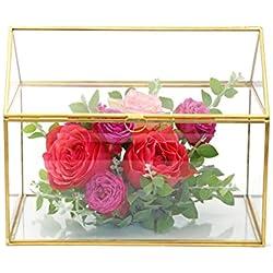 """Large Geometric Glass Card Box Organizer Terrarium Centerpiece Decor Window Tabletop Planter Handmade Garden Patio Square Copper House Shape Flower Pot for Plants Succulents (10.2"""" X 8.3"""" X 6.3"""" )"""