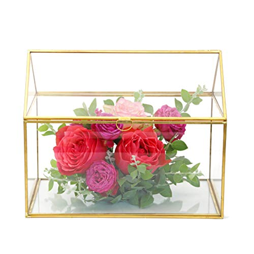 NCYP Large Geometric Glass Card Box Organizer Terrarium Centerpiece Decor Window Tabletop Planter Handmade Garden Patio Square Copper House Shape Flower Pot for Plants Succulent