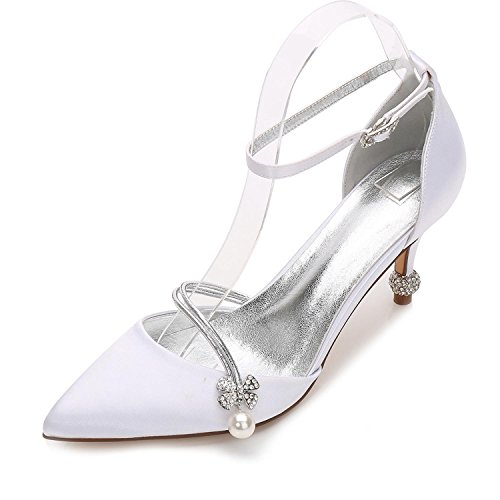 L@YC Women's Wedding Shoes 17767-29 Summer Basic Pump Shoes Cone Heel Closed Toe Wedding Party & Evening White gPchDxOAV