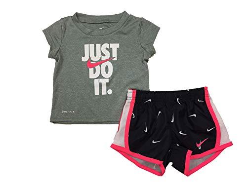 ( Nike Girl's Graphic-Print T-Shirt & Shorts 2 Piece Set (Black(16E429-023)/Pink/White, 4))