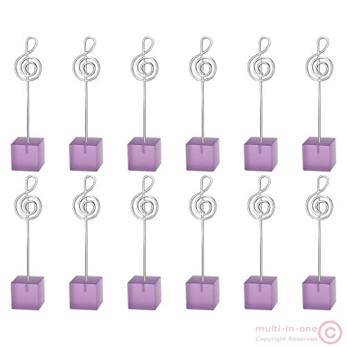 dolly2u 12pcs cube music note wire standing card memo photo clip holder wedding deco#Purple (In Cab Scanner)