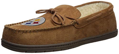 Pittsburgh Steelers Mens Moccasin Slipper Large (Pittsburgh Slippers Nfl Steelers)