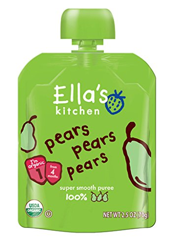 Ella's Kitchen 4+ Months Organic Baby Food, Pears Pears Pears, 2.5 oz. (Pack of 6)