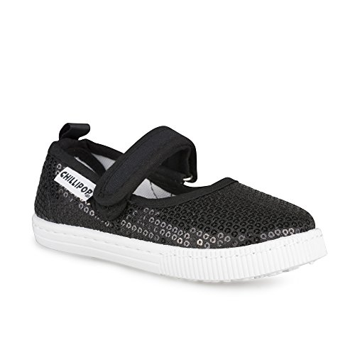 [SCM263P-BLKSQN-T9] Girls Mary Jane Sneakers: Black Strap Shoes, Toddler Size 9