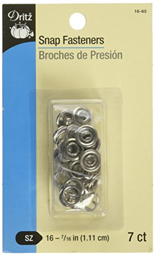 Dritz 16-65 Snap Fasteners, Nickel, Size 16 (7/16-Inch) 7-Count