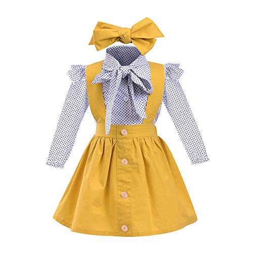 (Toddler Girl Britpop Style Elegant Dot Print Pure Yellow Skirt/Suspender Tie Headbands Set School Uniform ((US:3 Year Old), Long-Sleeve))