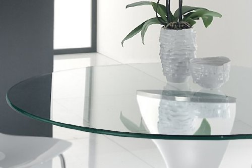 Dulles Glass and Mirror Tempered Table Top, 3/8'' Thick, Pencil Polish Edge, Round, 42'' L by Dulles Glass and Mirror