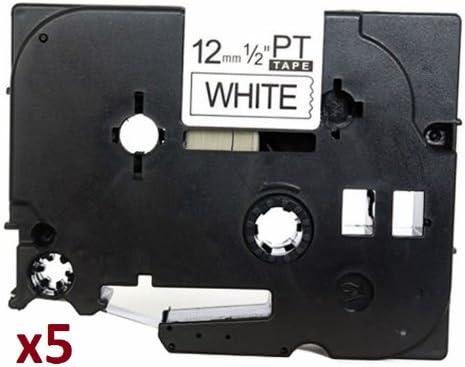 5 x TZe231 12mm x 8m Negro sobre Blanco Cinta de Etiquetas ...