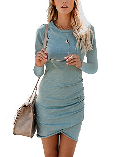 CAIYING Womens Summer Casual Solid Ruched Short Sleeve T-Shirt Midi Dress (Light Blue(LS), XL)