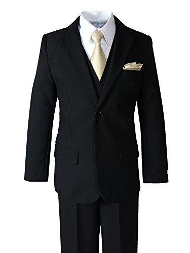 Spring Notion Little Boys' Modern Fit Dress Suit Set with Necktie and Handkerchief 6 (Boys Tuxedo Vest Champagne)
