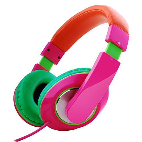 RockPapa Over Ear Stereo Headphones Earphones for Adults Kids Childs Teens, Adjustable, Heavy Deep Bass for iPhone iPod iPad MacBook Surface MP3 DVD Smartphones Laptop (Pink/Green/Orange) - Green Portable Headphone