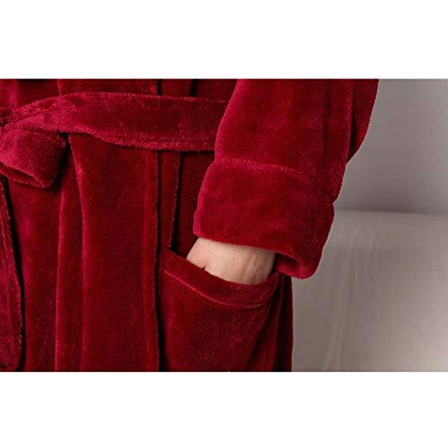 Tamaño Pareja Largo Otoño color Larga Moda Blanco E Luz Solapa Huifei Pijama Invierno Xl Franela Albornoces Engrosamiento Púrpura Cálido 1wOqEwadng
