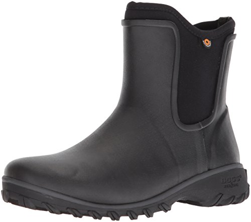 BOGS Women's Sauvie Chelsea Waterproof Garden Rain Shoe, Black, 9 Medium US