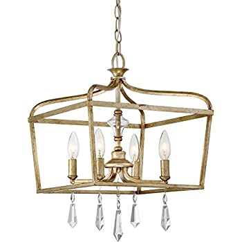 Image of Minka Lavery 4447-582 Laurel Estate Crystal Ceiling Pendant Lantern Chandelier Lighting, 4-Light Fixture 240 Watts, Brio Gold Home and Kitchen